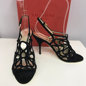 Valentino Garavani Black Suede Cut Out Shoes 35.5